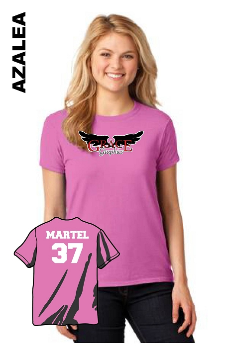 Gildan 5000L Womens Tee Front Logo with Vinyl Name and Number