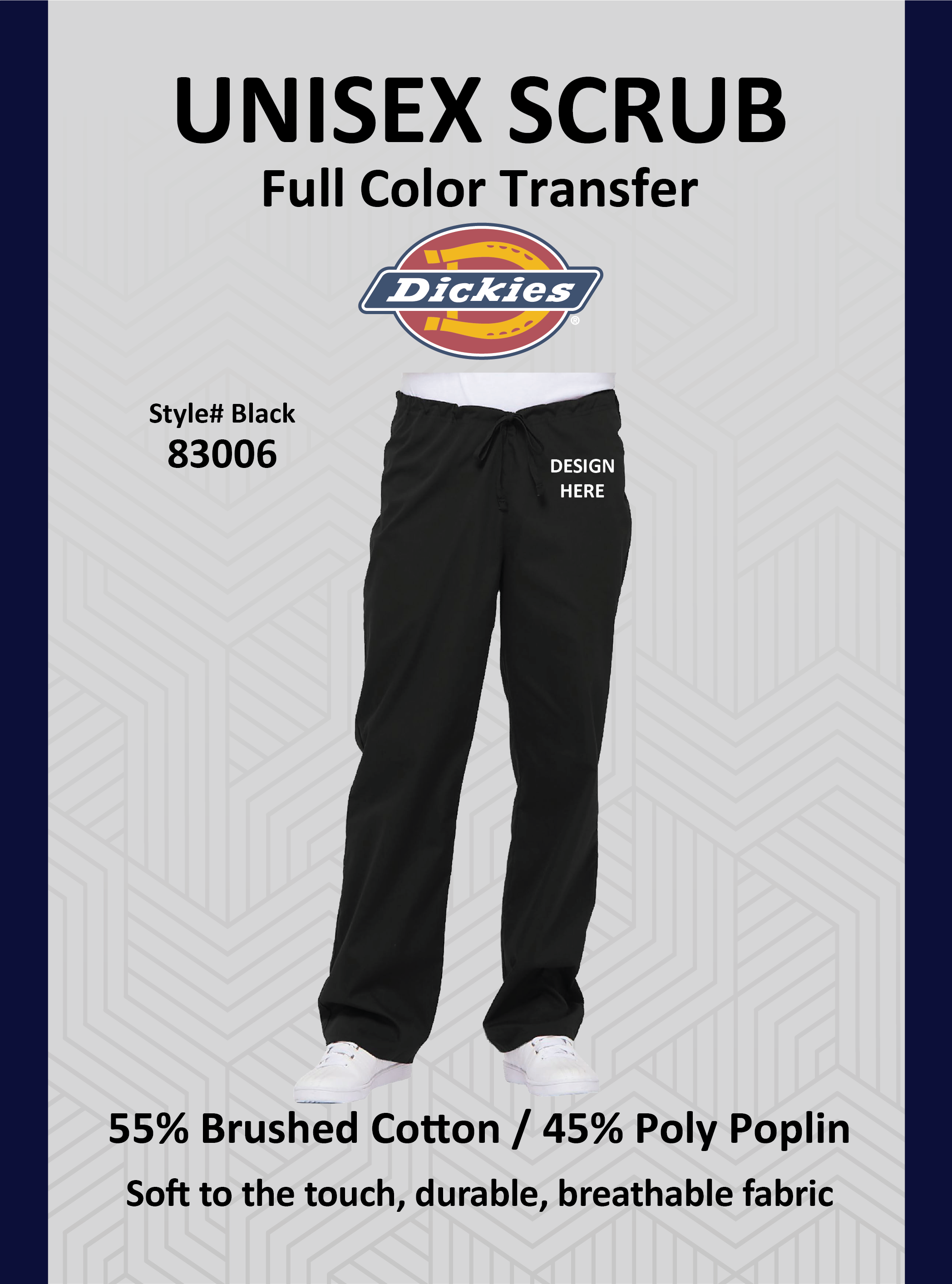 Dickies Scrub Pants #83006 with Full Color Logo Transfer