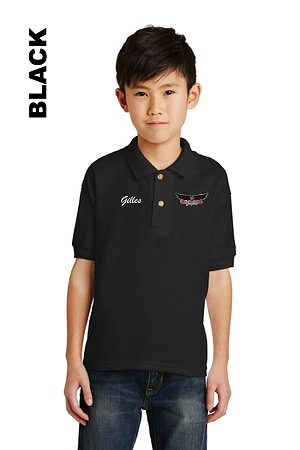 Gildan 8800B Youth Polo Front Pocket Logo Only Embroidery with Personalize Name