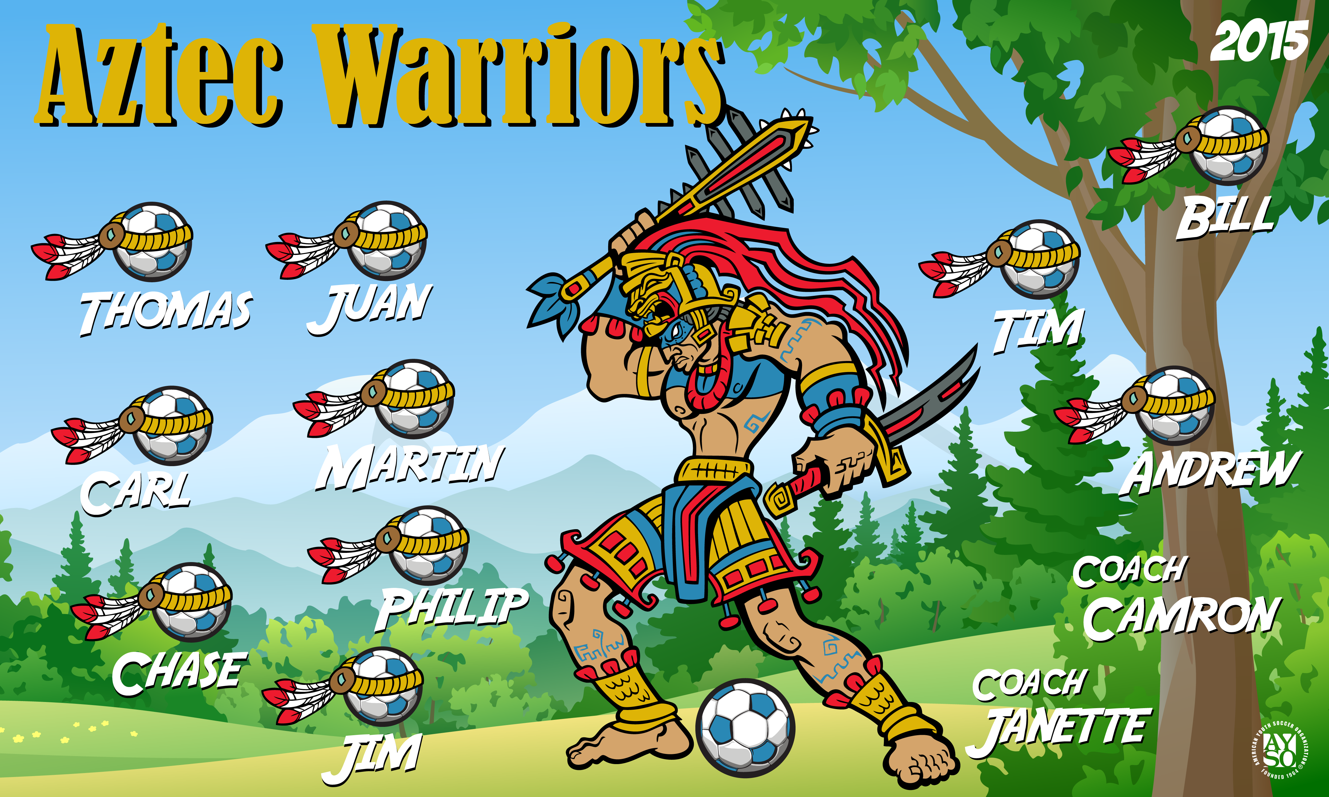 B1610 Aztec Warriors 3x5 Banner