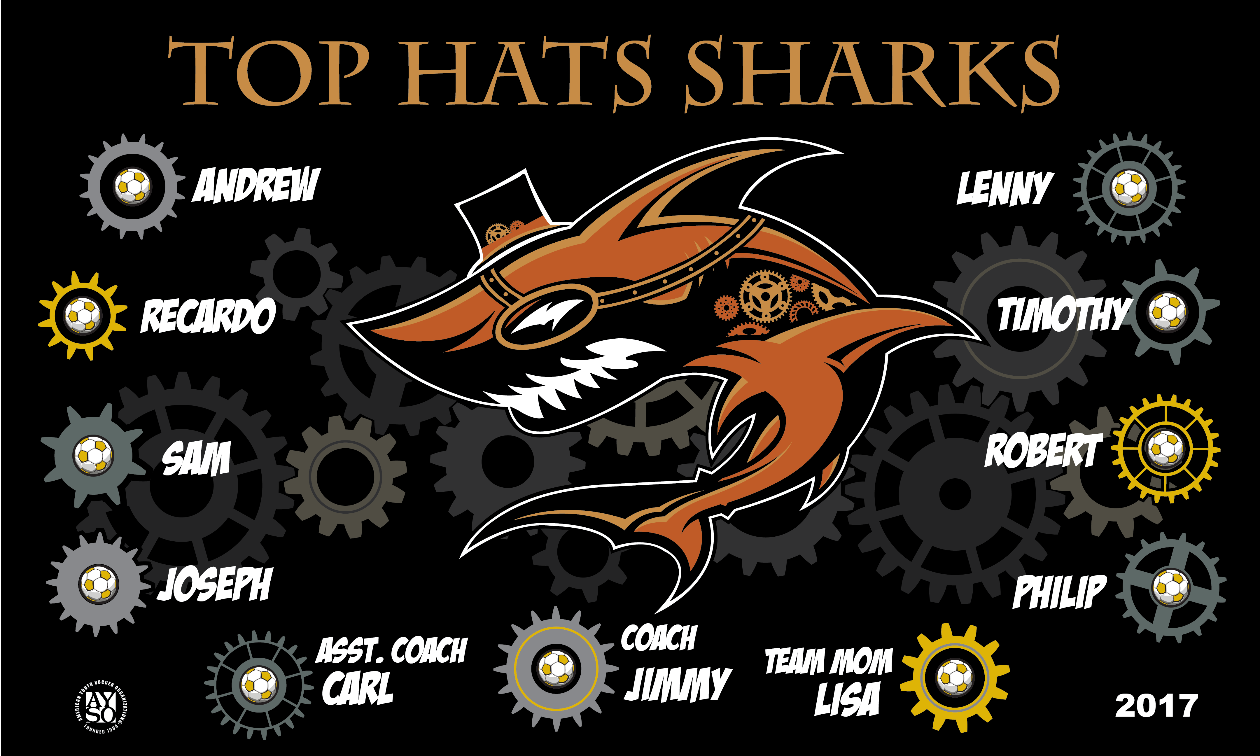 B1930 Top Hats Sharks 3x5 Banner