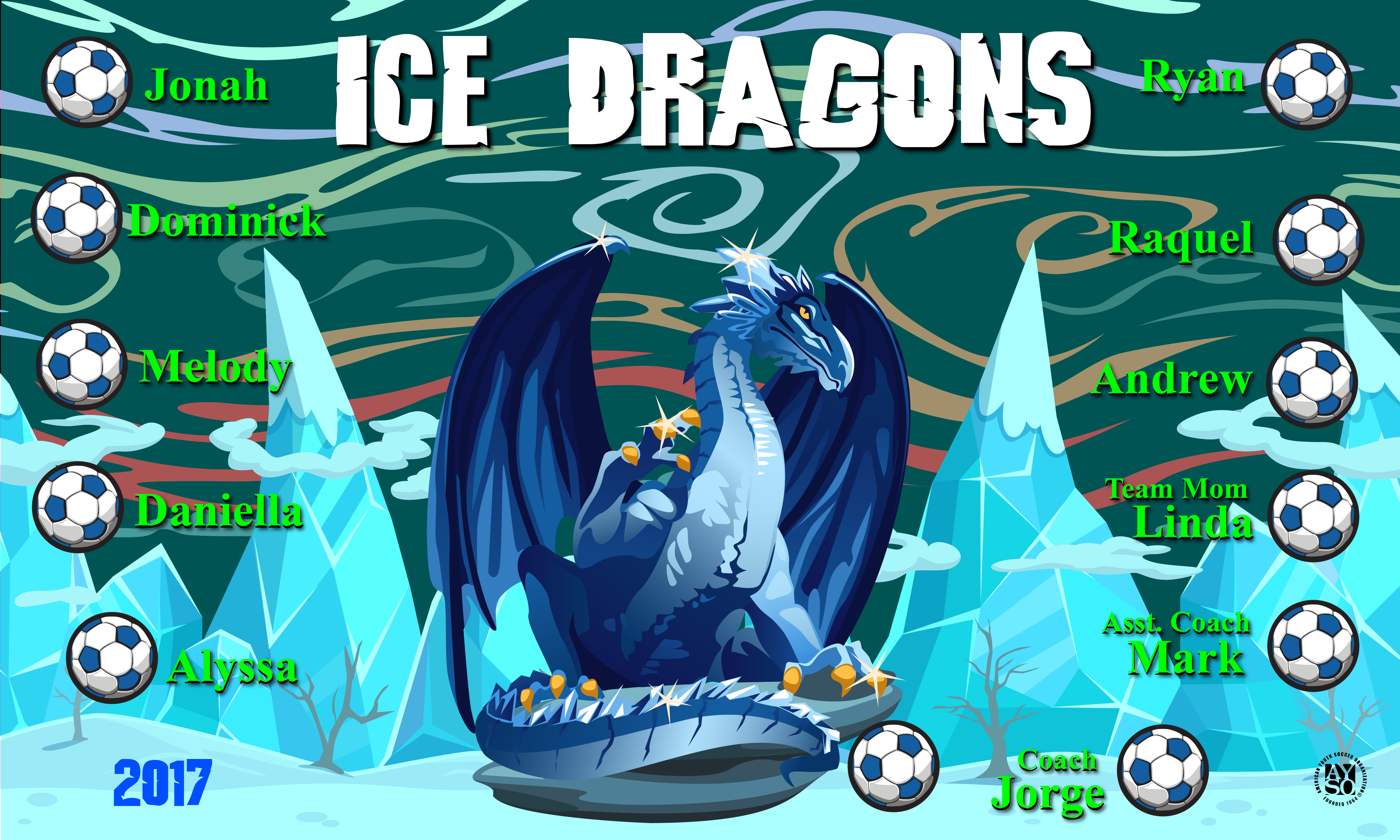 B1969 Ice Dragons 3x5 Banner