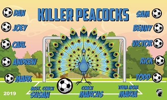 B2486 Killer Peacocks 3x5 Banner