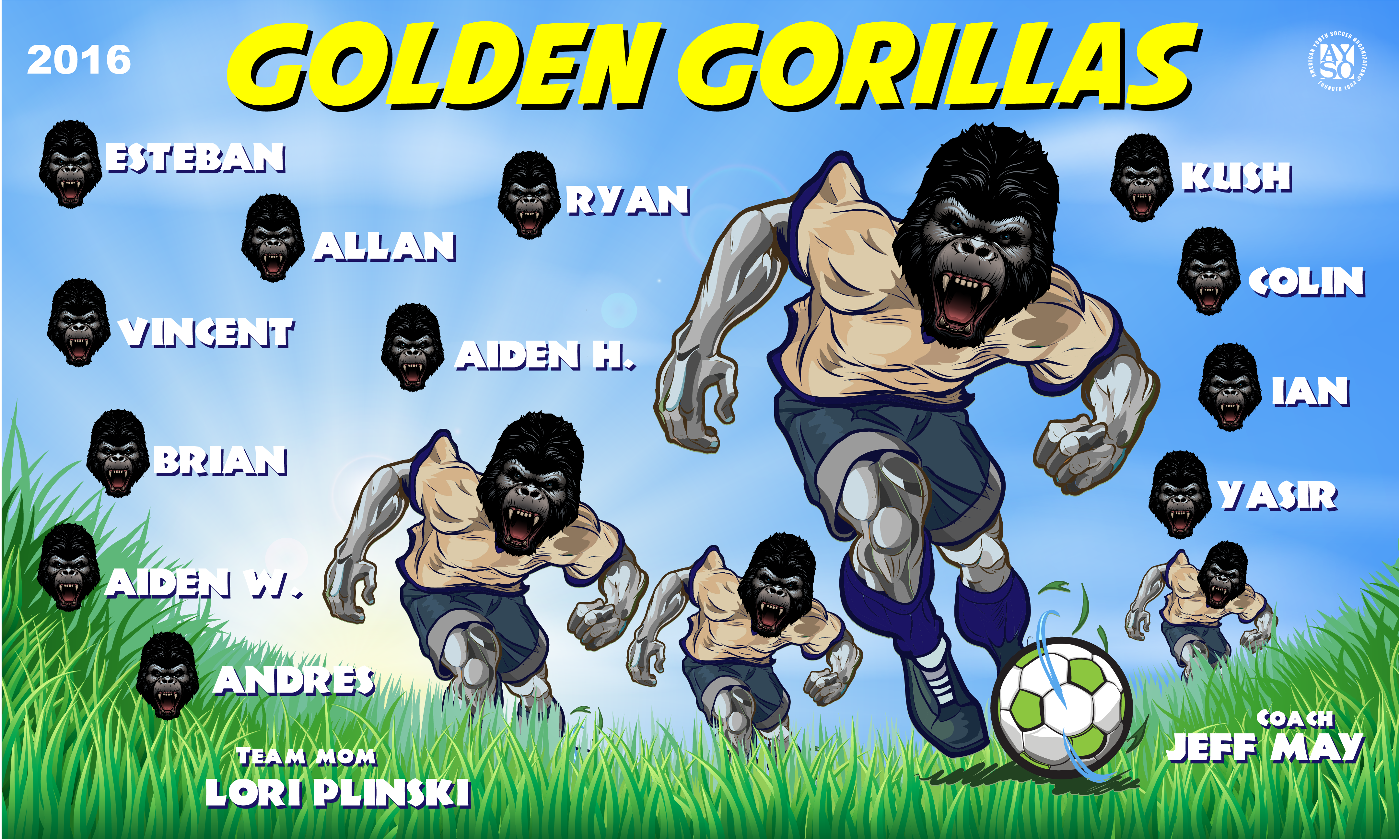 B1702 Golden Gorillas 3x5 Banner