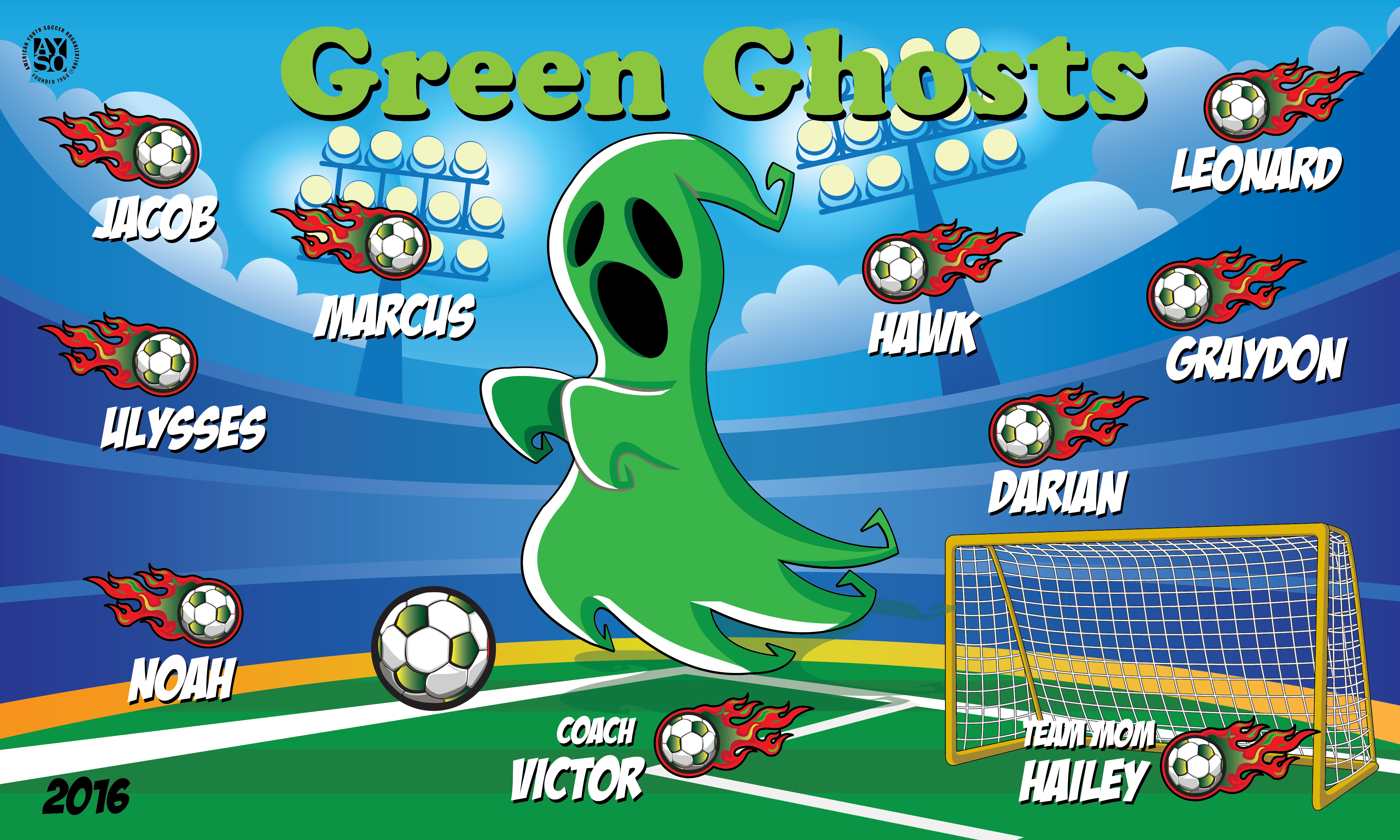 B1844 Green Ghost 3x5 Banner