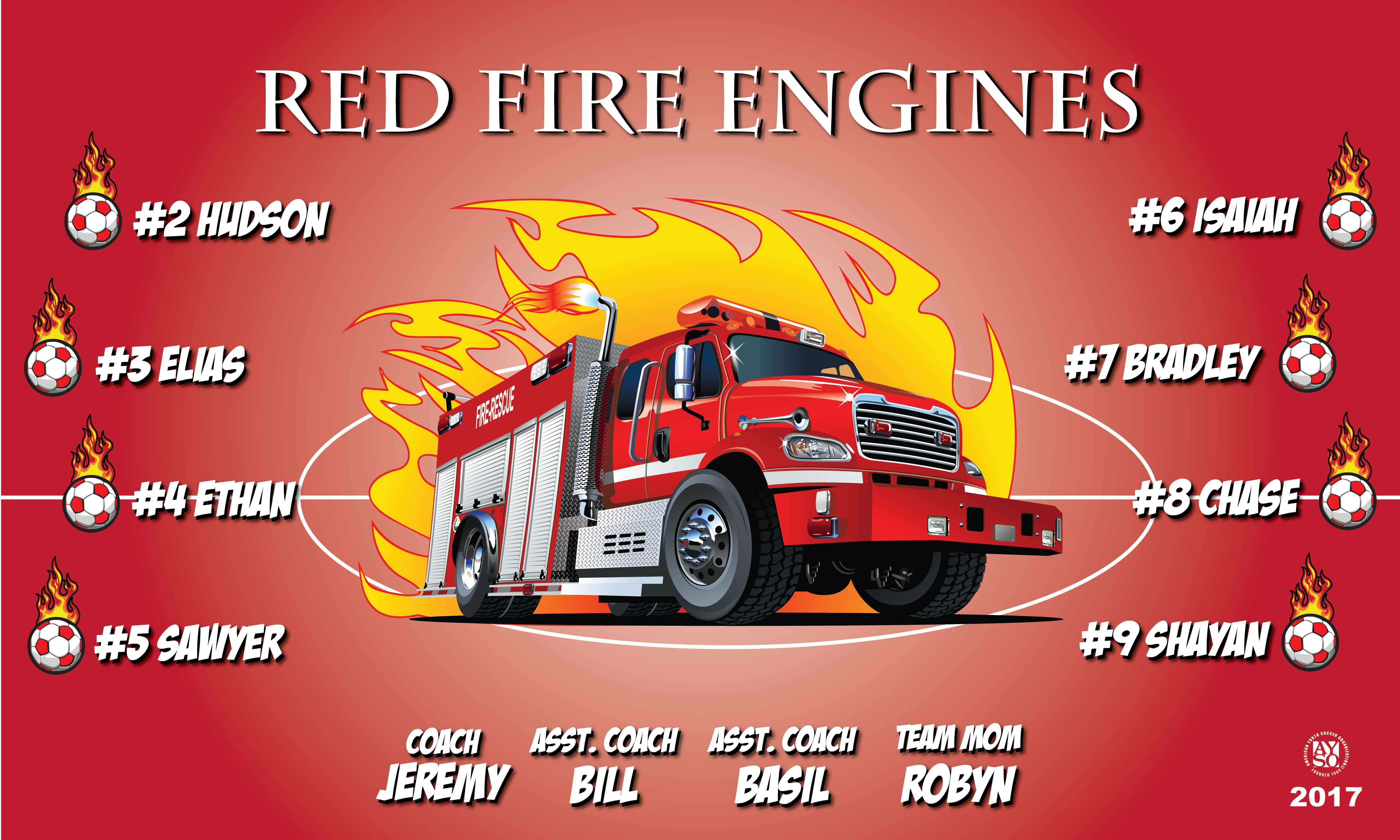 B2086 Red Fire Engines 3x5 Banner
