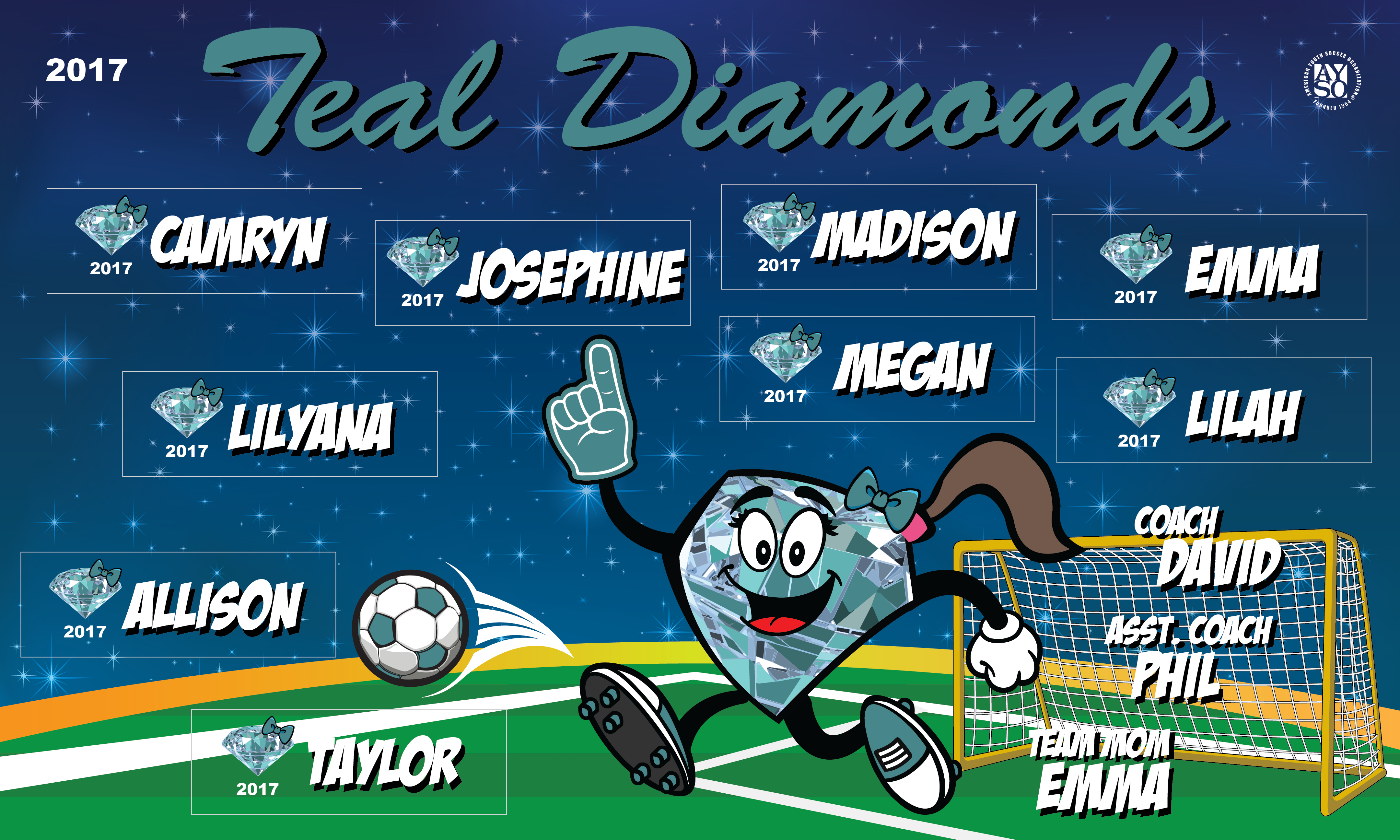 B2047 Teal Diamonds 3x5 Banner
