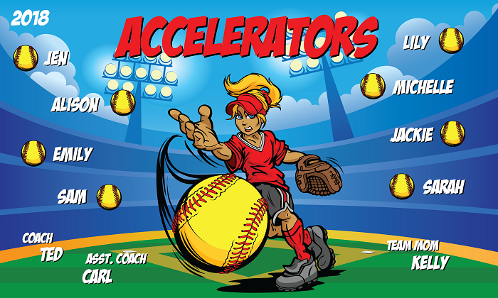 B2185 Accelerators Softball 3x5 Banner