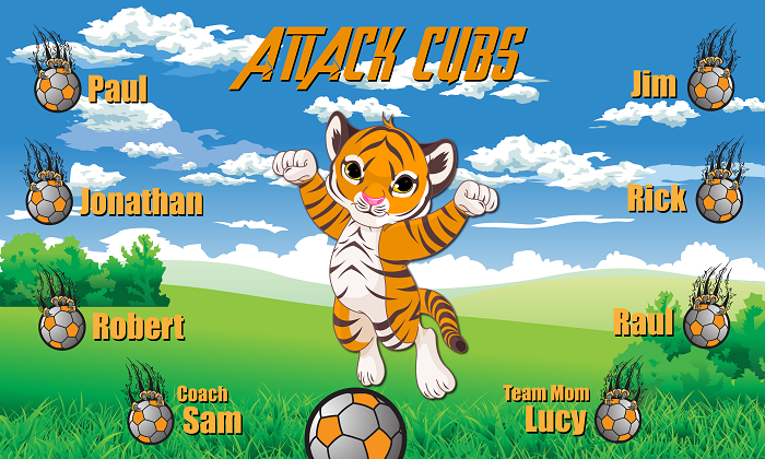 B1377 Attack Cubs 3x5 Banner