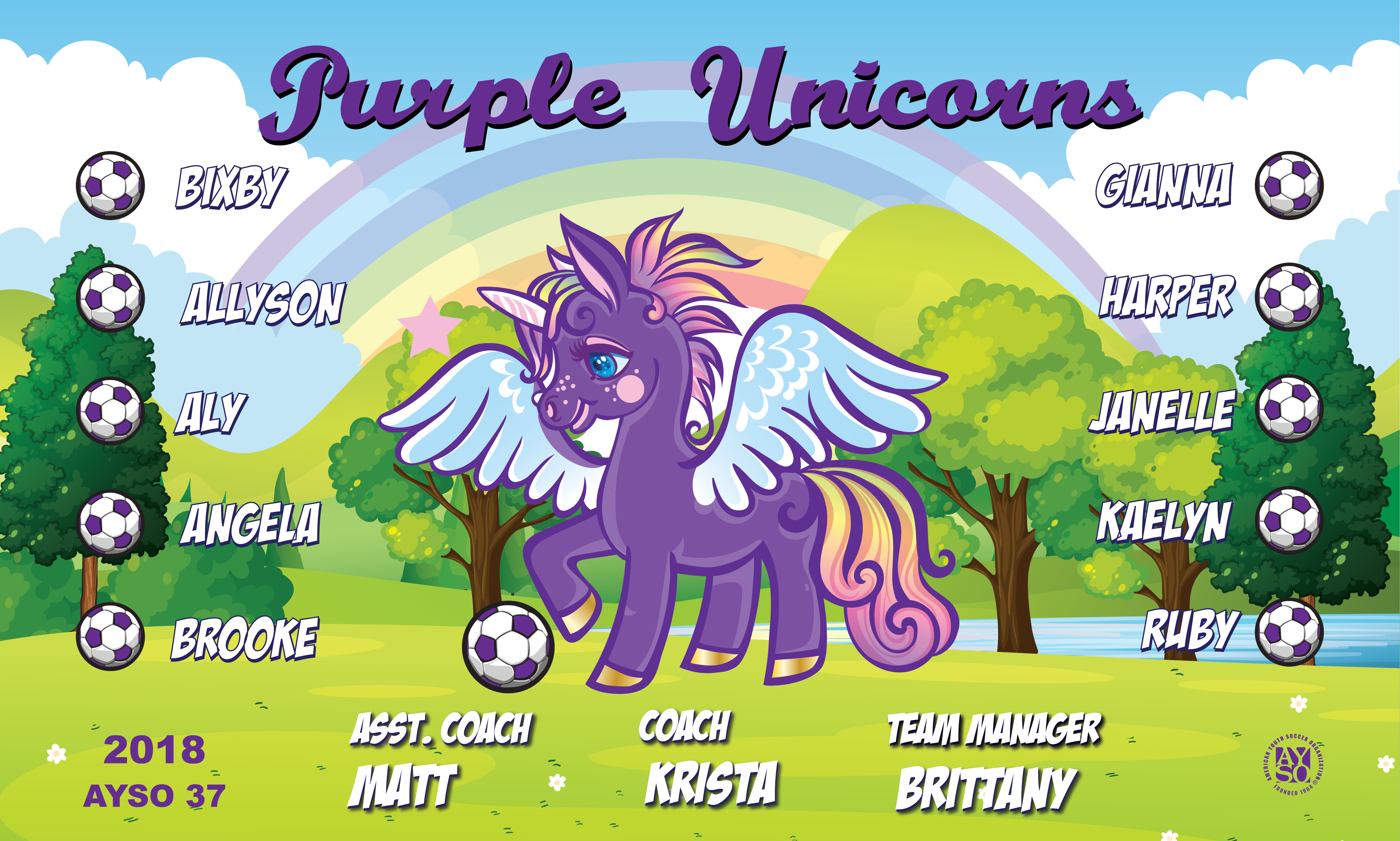 B2342 Purple Unicorns 3x5 Banner