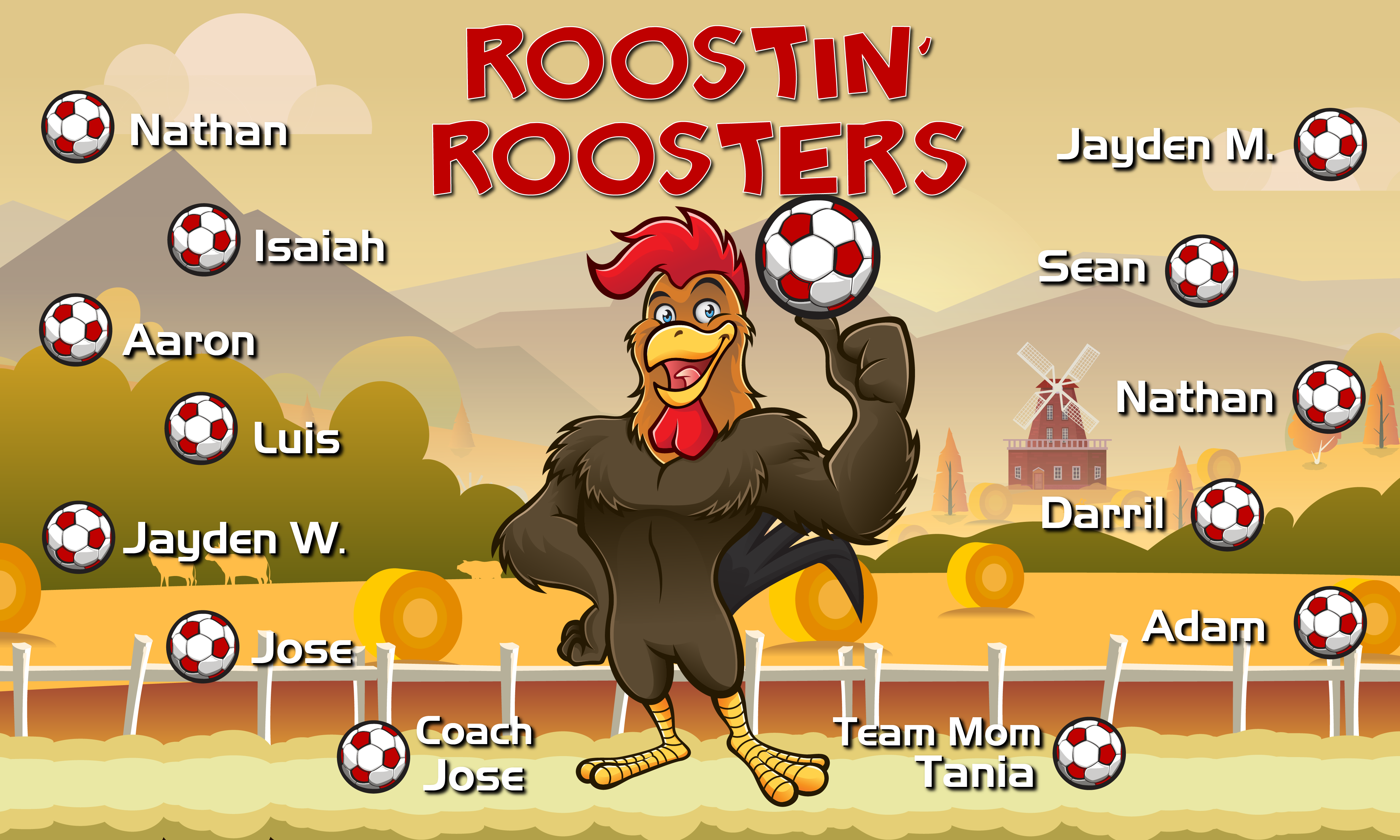 B2523 Roostin' Roosters 3x5 Banner