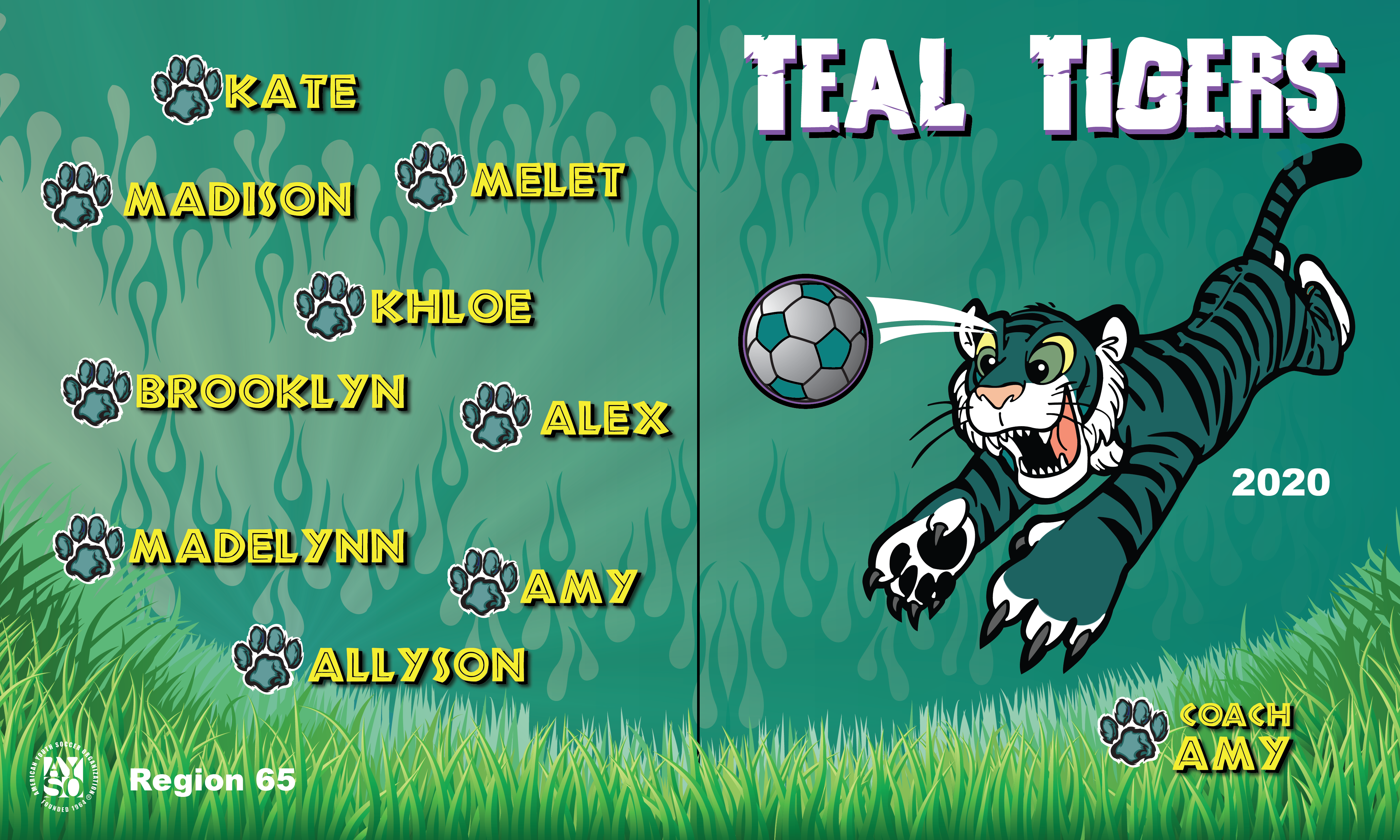B2653 Teal Tigers 3x5 Banner