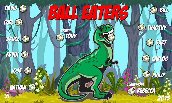 B1463 Ball Eaters T-Rex 3x5 Banner