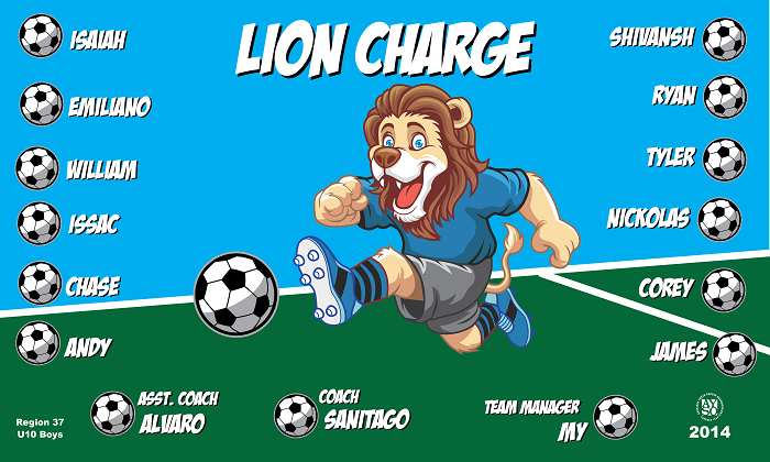 B1531 Lion Charge 3x5 Banner