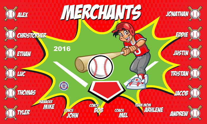 B1408 Merchants Baseball 3x5 Banner