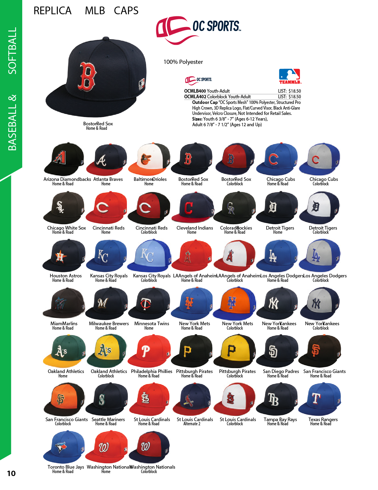 Majestic MLB400 Baseball Caps