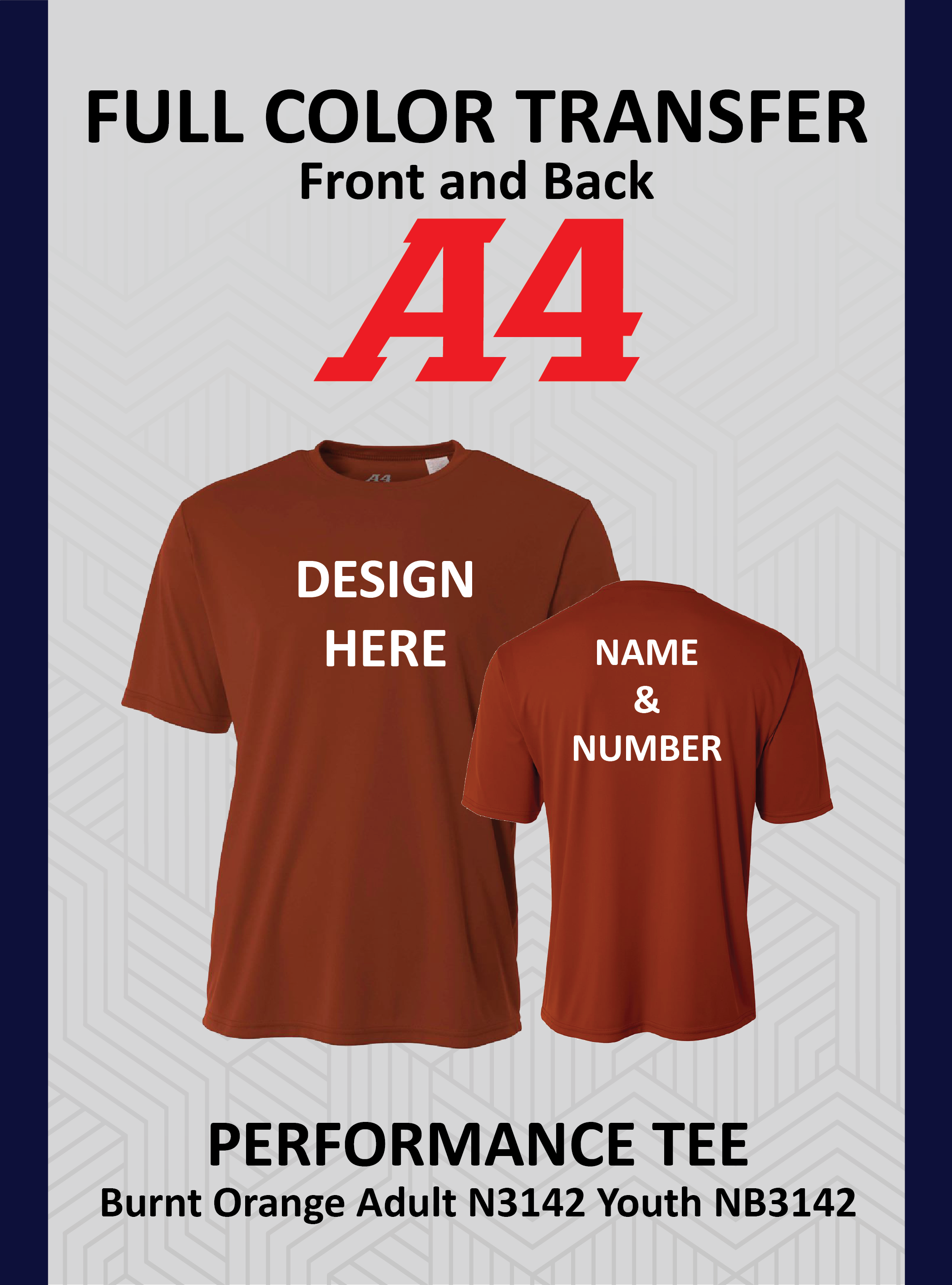 Performance Tee Specialty Colors Youth & Adults Front Logo and Name & Number on Back