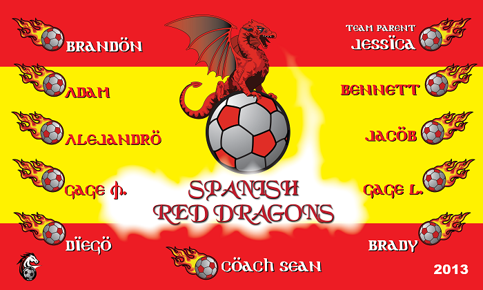 B1175 Spanish Red Dragons 3x5 Banner