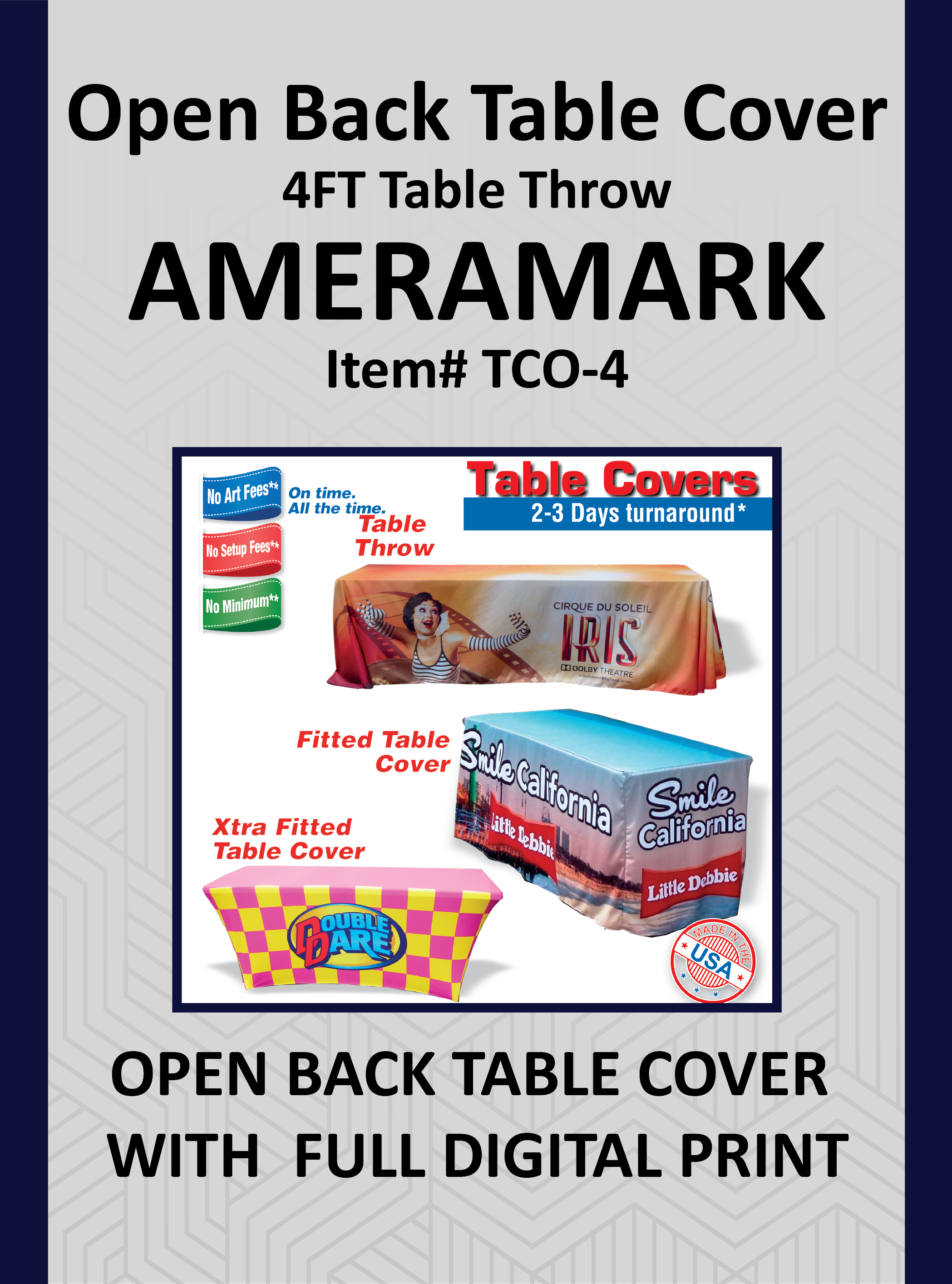 Open Back Table Cover Full Digital 4ft