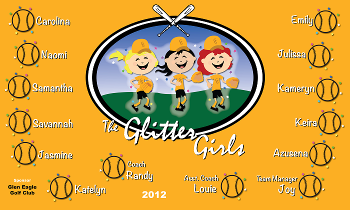 B1367 The Glitter Girls Baseball 3x5 Banner