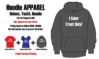 1 Color Front only Adult - Youth Hoodie BApparel-005