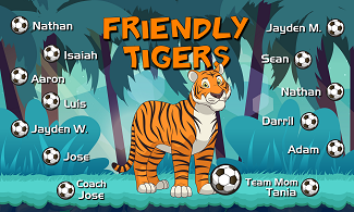 B2529 Friendly Tigers 3x5 Banner