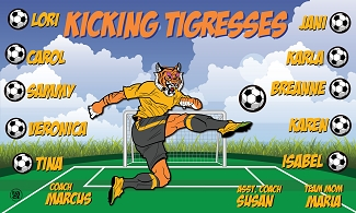 B1572 Kicking Tigresses 3x5 Banner