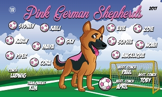 B2137 Pink German Shepherds 3x5 Banner