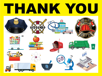First Responders THANK YOU 18x24 Corrugated Sign with Stake