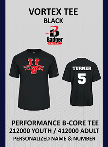 Vortex Badger Black Tee Personalized Name and Number