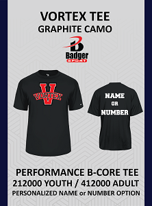 Vortex Badger Black Tee Personalized Name or Number