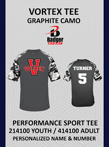 Vortex Badger Graphite CAMO Tee Personalized Name and Number