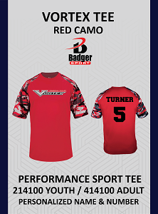 Vortex Badger Red Camo Tee Personalized Name and Number