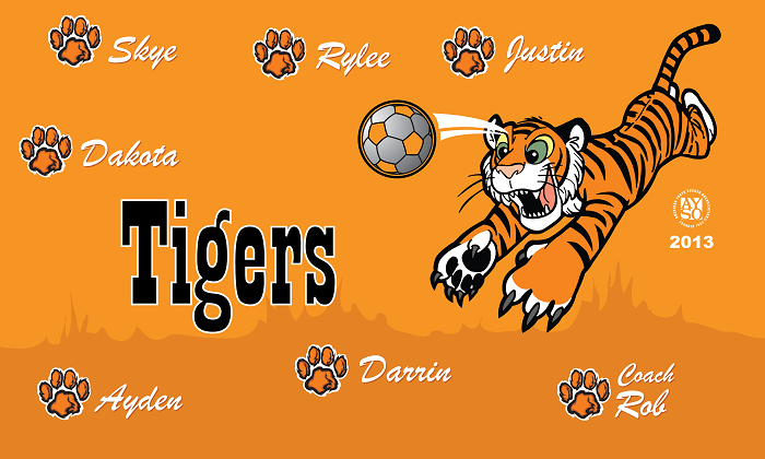 B1219 Jumping Tigers 3x5 Banner