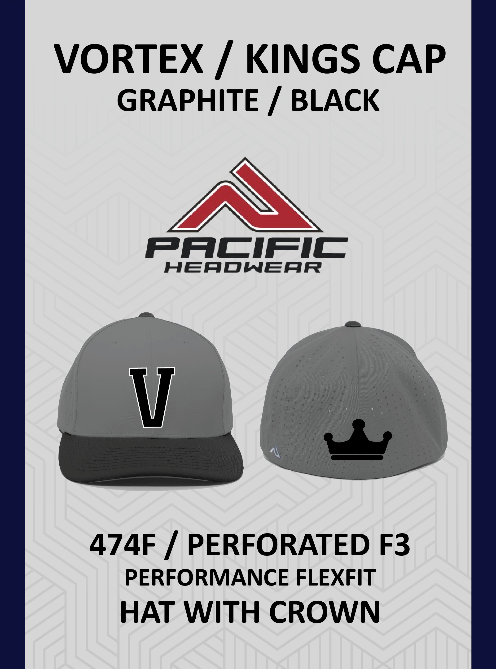 Vortex / Kings 474F Cap Graphite Black with Crown