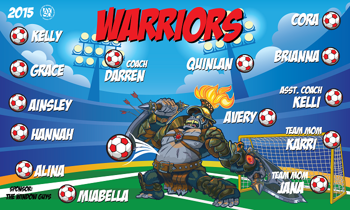 B1462 Warriors Ape 3x5 Banner