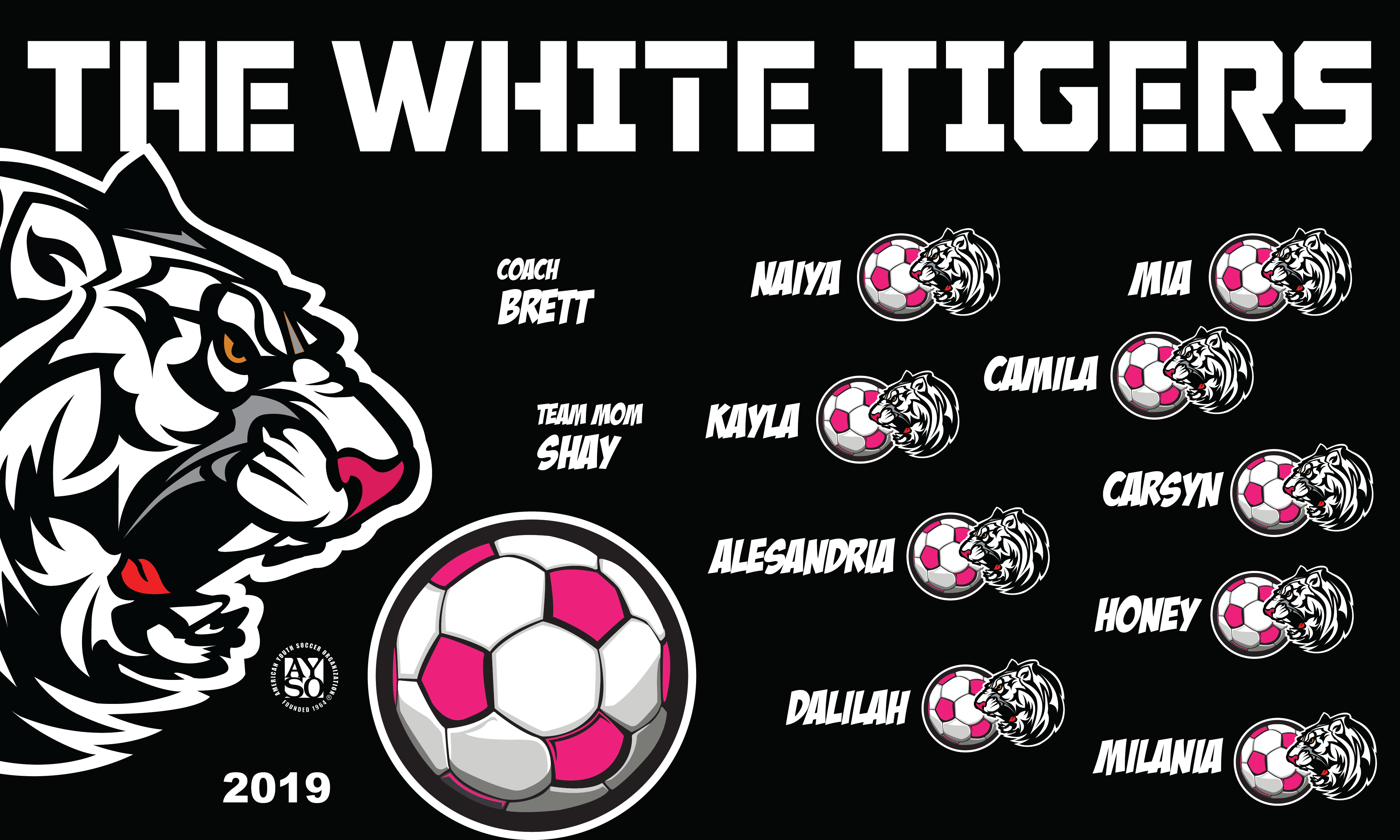 B2589 White Tigers 3x5 Banner