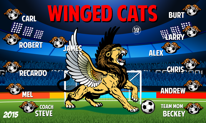 B1376 Winged Cats 3x5 Banner