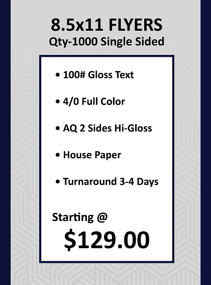 8.5'x11' Flyers Gloss Text Single Sided