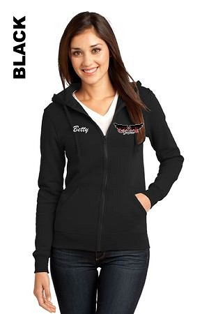 District DT801 Womens Zip-Hoodie Pocket Logo with Embroidered Name (Tax Included)