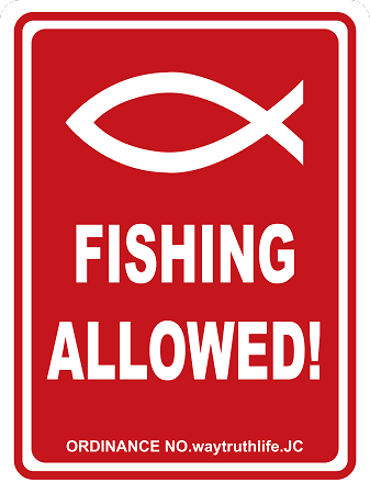 Fishing Allowed 18'x24' Metal Sign