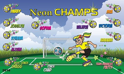 B1710 Neon Champs 3x5 Banner