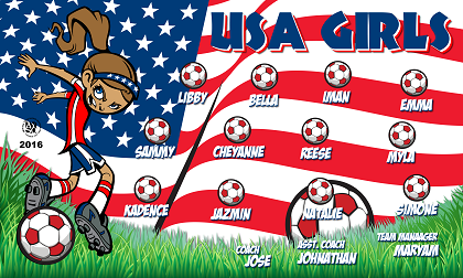 B1724 USA Girls 3x5 Banner