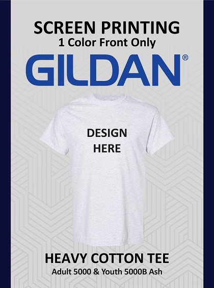 1 Color Front Only Screen Printing Standard Colors