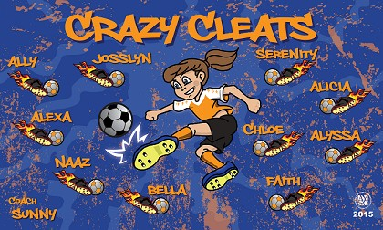 B1268 Crazy Cleats 3x5 Banner