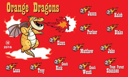 B1443 Orange Dragons 3x5 Banner