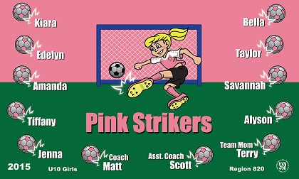B1311 Pink Strikers 3x5 Banner